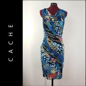 Cache Woman Sleeveless Dress Size Medium Blue